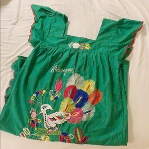 Vintage Dresses - Genuine Nicaragua Embroidered Mumu Dress Vintage